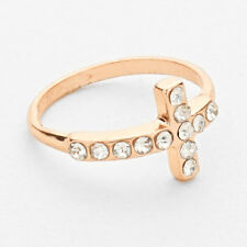 Rose Gold Crystal Cross Knuckle Ring