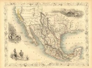 MEXICO CALIFORNIA TEXAS. Gold rush district. TX Republic.TALLIS/RAPKIN 1851 map
