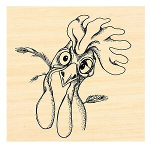 P126 Rooster rubber stamp