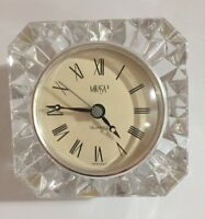 Vintage Mikasa Crystal Cut Glass Quartz Table Clock. Made in West Germany It/274