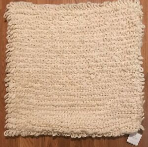 """NEW Pottery Barn Loopy Knit Throw 24"""" Square Pillow Cover Ivory"""