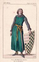 Portrait Pierre de Dreux Mauclerc Pierre Ier Duc Bretagne Seigneur Machecoul