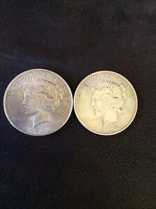 1923 USA American Eagle Liberty Peace Silver Dollar x 2