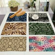 Snakeskin Pattern Placemat Cotton Linen Home Dining Kitchen Cup Pad Table Mat