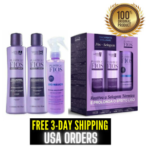 Cadiveu Plastica Dos Fios Hair Treatment Kit Home Care Post Sealing (3 Products)