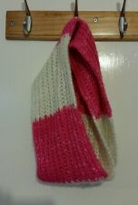 THICK KNIT PINK & WHITE LOOPED WOOLEN HEAD & NECK SCARF BY GEORGE AGE 8-12