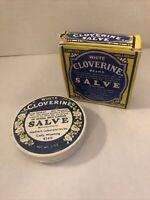 WHITE CLOVERINE BRAND SALVE EMPTY TIN IN ORIGINAL BOX,