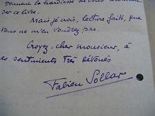 """FABIEN SOLLAR Autographe Signé 1922 DIRECTEUR REVUE """" RIRE"""" """"FANTASIO""""  à BERAUD"""