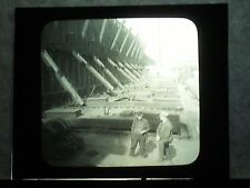 VINTAGE COLLECTIBLE GLASS PICTURE NEGATIVE Loading lake Steamer Duluth Minnesota