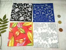 4 Napkins For Decoupage and Paper Crafts Flower Leaf Red Blue Silver Pattern 113