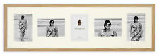 """31x9in Solid Oak Multi-aperture Photo Frame to fit 5x 6""""x4"""" photos"""