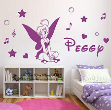 Custom Personalised Name Tinker Bell Fairy Wall Art Sticker Girls Kids Art Decal