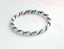 925 Sterling Silver 2mm Twisted Rope Stacking Ring, Size 6 US
