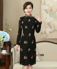 New black  Chinese women's woollen  Evening mini Dress/Cheong-sam s-3xl