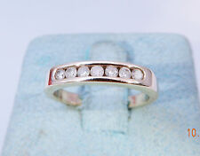 VINTAGE 10K YELLOW GOLD CHANNEL SET WHITE DIAMOND WEDDING BAND