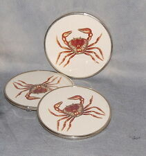 Set of 3 Crab Glass Silver Metal Drinks Coasters Made In Mexico