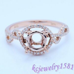 6.5mm Round Cut Solid 14k Rose Gold Semi Mount Natural Diamond Engagement Ring