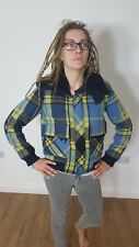 Diesel Womens Tartan Check blue yellow navy Wool Cropped Bomber Jacket Small S