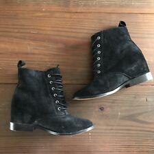 Victoria Secret Black Suede Hidden Wedge Booties Boots Heels Lace Up 7.5 Rare