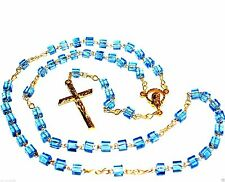 Catholic Rosary Necklace  prayer Glass Cube Beads Madonna center Blue gold color