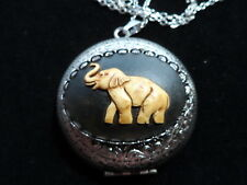 ANTIQUE SILVER ELEPHANT CAMEO LOCKET  LARGE