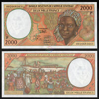 CENTRAL AFRICAN STATES CHAD 2,000 2000 Francs 2000 P-603 Pg UNC Uncirculated