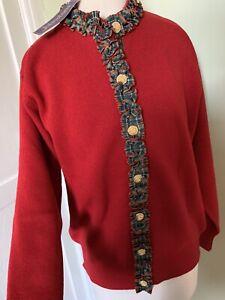 Johnstons Of Elgin Pure New Wool 100% Lambswool Cardigan With Tartan  40