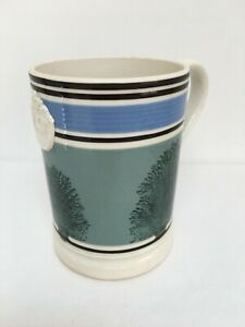 Antique Banded Mochaware  Pottery 1 Pint Tankard Mug with Crown Pottery Mark