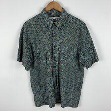 VINTAGE Como Australia Mens Button Up Shirt Large Multicoloured Floral Retro