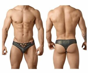 Mens Glitter Wide Back Thong Black and Gold