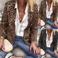 Mode Femme Cardigans Casual en vrac Imprimé Leopard Manche Longue Haut Plus
