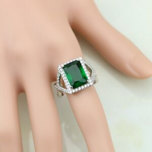 4.50Ct Emerald Cut Green Emerald Halo Engagement Ring 14K White Gold Finish