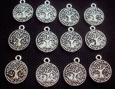 8 Tree of Life Charms Pagan Wiccan Silver Tone Metal