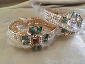 INDIAN ORIENTAL Pair of Wide Gold Color Bangle Bracelet Pearls Rhinestone Beaded