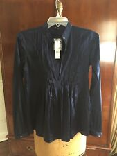THEORY Silk Blouse Shirt Petite P Navy Retail $235 NEW! TAGS!