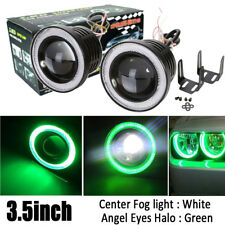 "2X 3.5"" inch 3200Lm LED Projector Fog Light Round Green Angel Eye Halo 4X4 Truck"