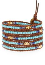 Chan Luu Jewelry Turquoise Mix Natural Brown Leather 5 Wrap Bracelet Adjustable