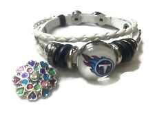 NFL Fashion Snap Jewelry Tennessee Titans Logo Leather Bracelet With 2 Charms Fo