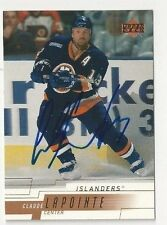 00/01 Upper Deck Autographed Hockey Card Claude Lapointe New York Islanders