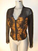 Joseph Ribkoff schwarze Bluse Chiffon mit tollem eingenähtem Tiger Muster Gr 42