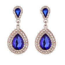 Vintage Fashion Womens Boho Rhinestone Crystal Long Tassel Stud Dangle Earrings