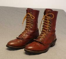 """Vintage Double Hh Leather Logger Lacer Work boots men's size 10D """"Made in Usa"""""""