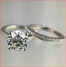 Band Ring Set 925 Sterling Silver 3Ct Round Moissanite Diamond Bridal Engagement