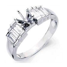 1.00 Ct Baguette Diamond Semi-Mount F VS1 Bridal Engagement Ring 14k White Gold