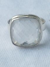 STERLING SILVER & MULTI-FACETED 12CT AQUAMARINE RING.SIZE 8
