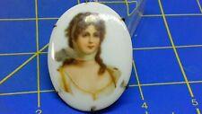 Painted Portrait Brooch Super Victorian Porcelain