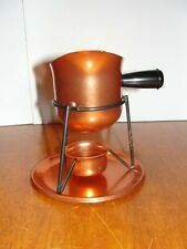 Vintage Mid Century Pink Copper Aluminum Butter Sauce Warmer Pot Pan w/ Stand