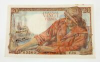 1943 France 20 Francs Note Very Fine+ Condition Pick #100a