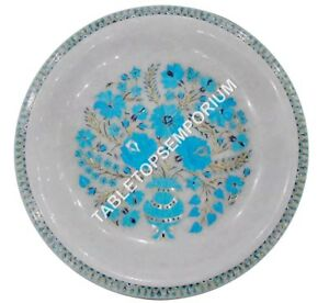 "13"" Marble Serving Fruit Bowl Handmade Turquoise Inlay Stone Christmas Art H1441"