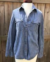 BANANA REPUBLIC Women's  Denim Shirt Small Blue Button Down Long Sleeve Top
